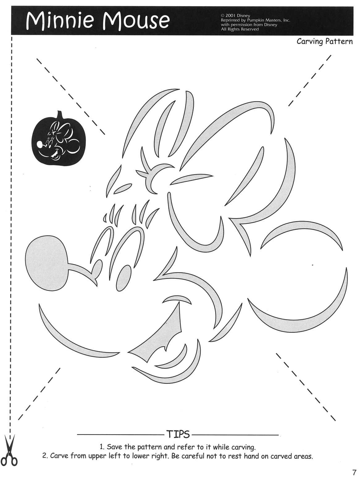 Minnie Mouse pumpkin carving pattern at http://www.halloweenpumpkins ...