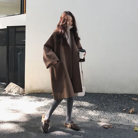 Photo of Korean Style Pocket Woolen Oversized Coat