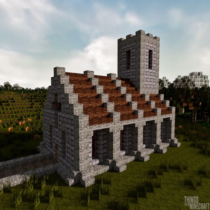 Simple Church Minecraft Project Minecraft Projects Minecraft Medieval Minecraft Castle