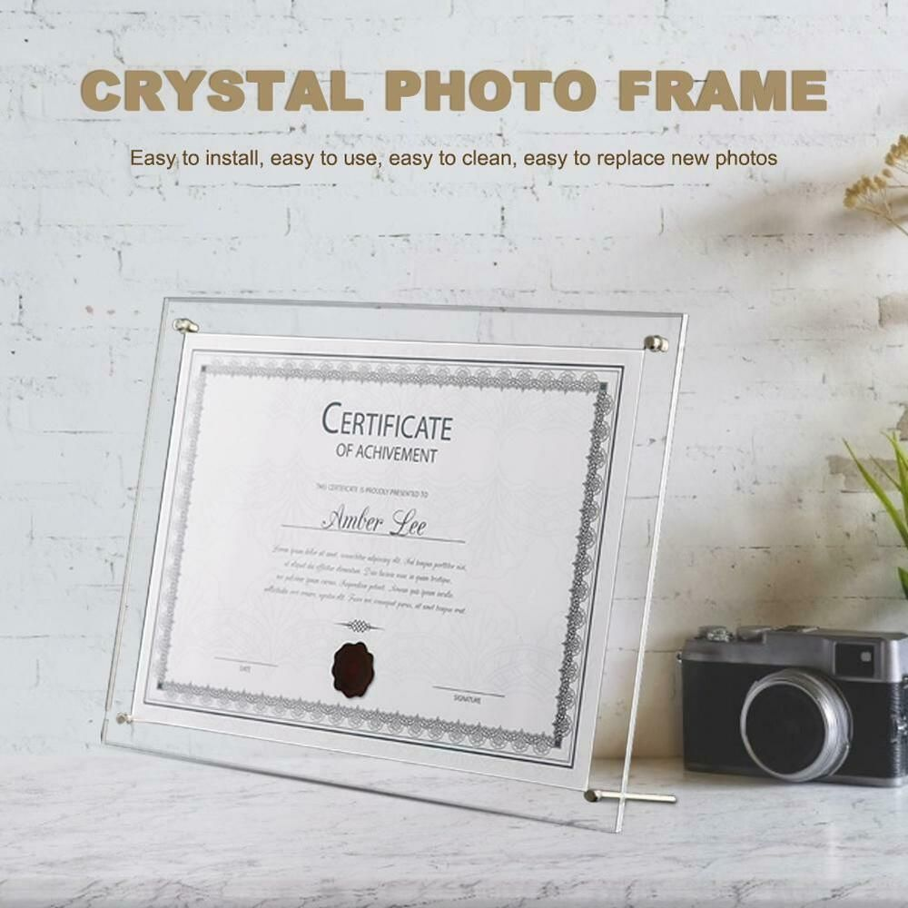 Photo Frame Certificate Stand A4 Holder Display Crystal Plexiglass
