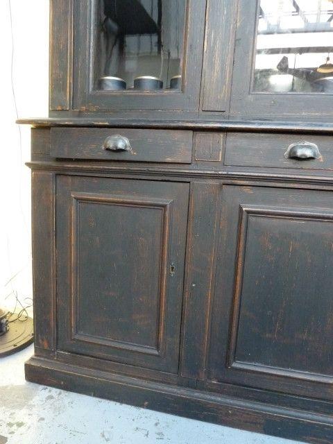 Jolie vitrine 2 corps vieux noir debut 1900 dimensions 2,18xP50xH1 - Repeindre Un Meuble En Chene