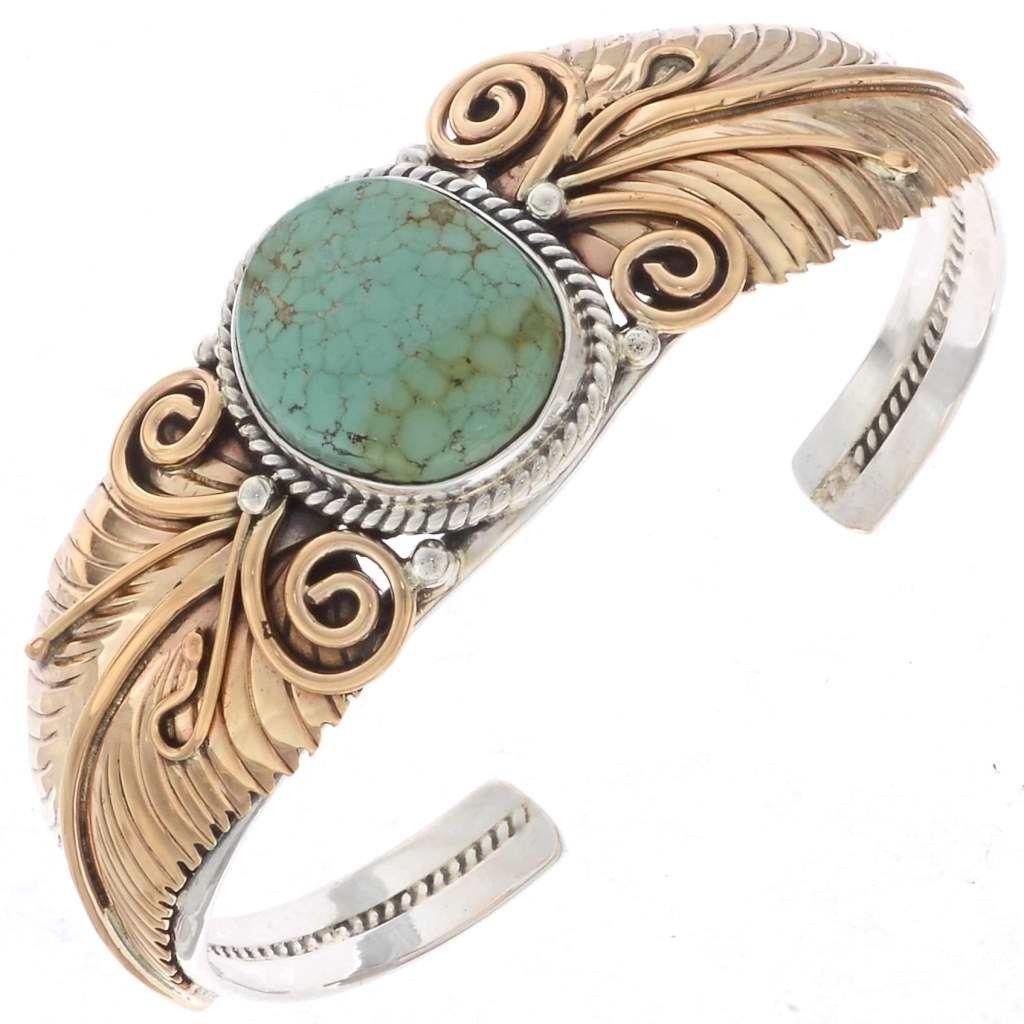 Navajo Silver Gold Cuff Handmade Overlaid Bracelet 2245