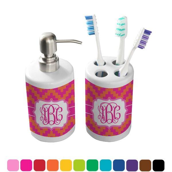 Pink U0026 Orange Chevron Bathroom Accessories Set (Ceramic)
