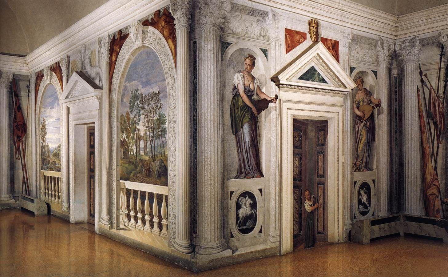 Original Trompe l\'oeil decorates the interior of the Villa Barbaro ...