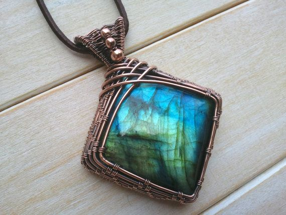 Blue Labradorite Square Pendant Wire Wrapped By