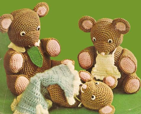 FREE Three Bears Pattern Vintage | Crochet - Hooker Love | Pinterest