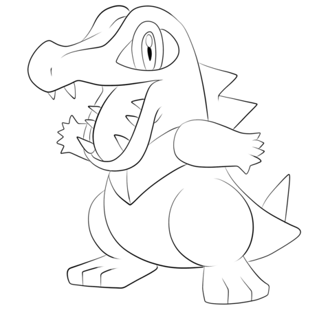 Click to see printable version of Totodile Coloring page LineArt