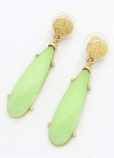 Neon Green Gemstone Gold Strip Earrings Us 4 93