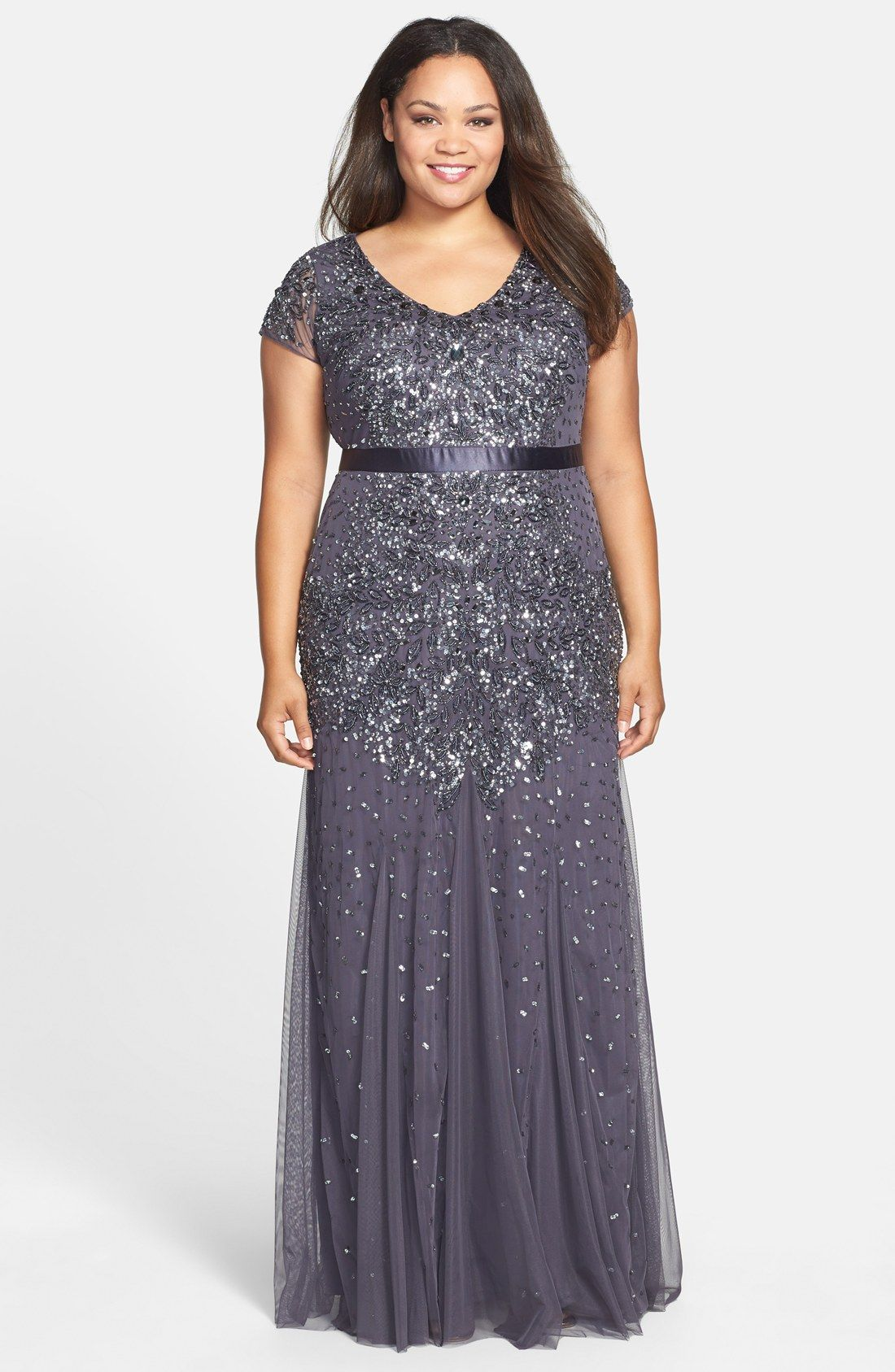 Adrianna Papell Beaded V-Neck Gown (Plus Size) | :: DIVINE | Curves ...