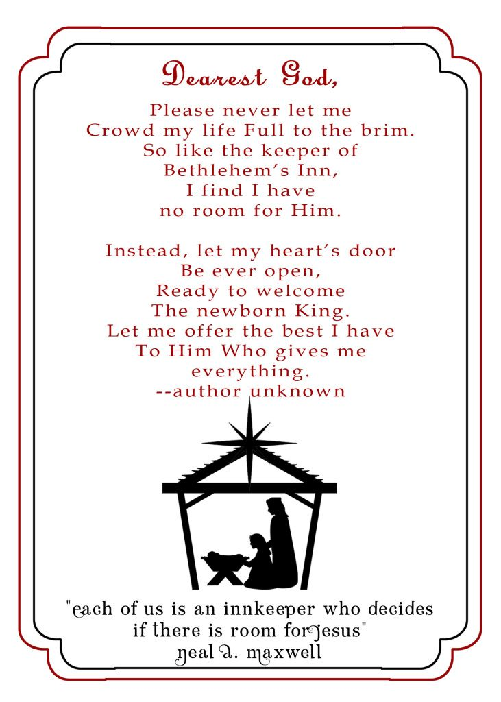 Innkeepers Poem Printable Christmas Poems Christmas