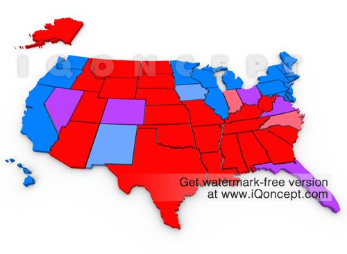 Swing States Map Political Party Preference Voting Trends United