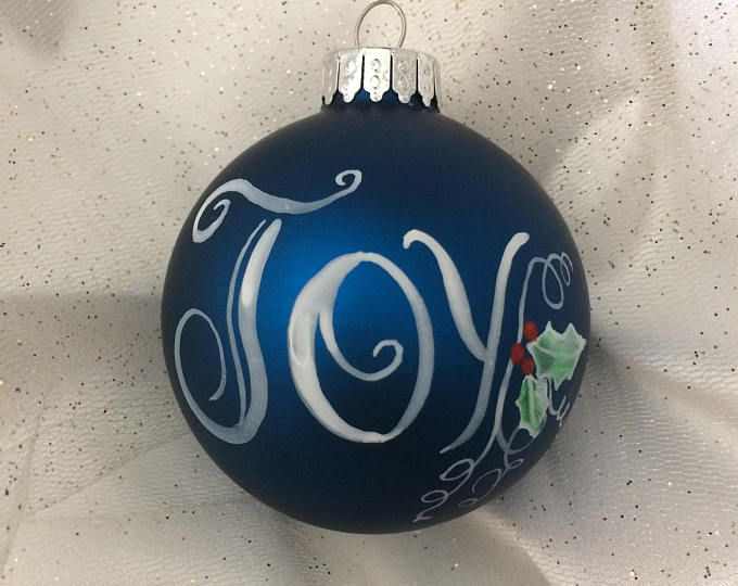Decorative Christmas Ball Ornaments Dark Blue Hand Painted Glass Christmas Ornament  Christmas