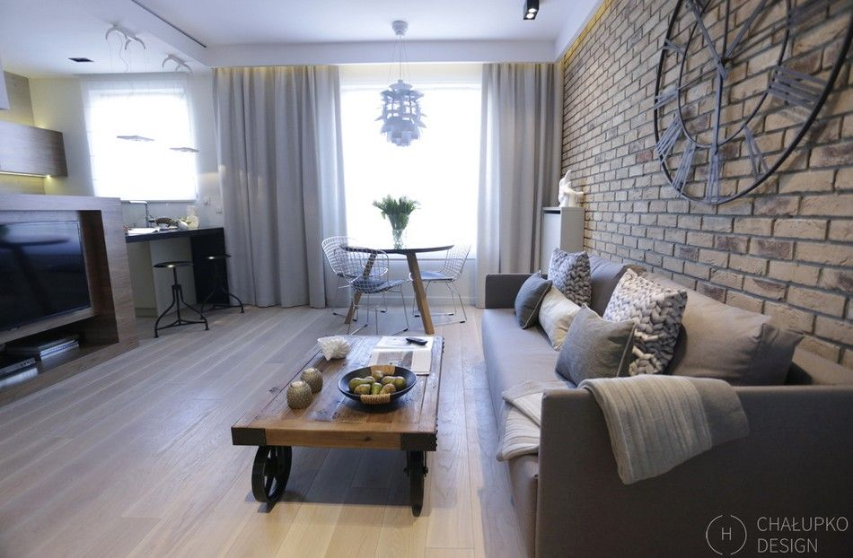 Industrial Living Room Design Adorable Postindustrial Apartment In Warsaw Exhibiting A Clean And Elegant Inspiration