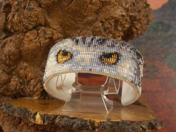 Native American Wildlife Beaded White Owl Cuff Bracelet