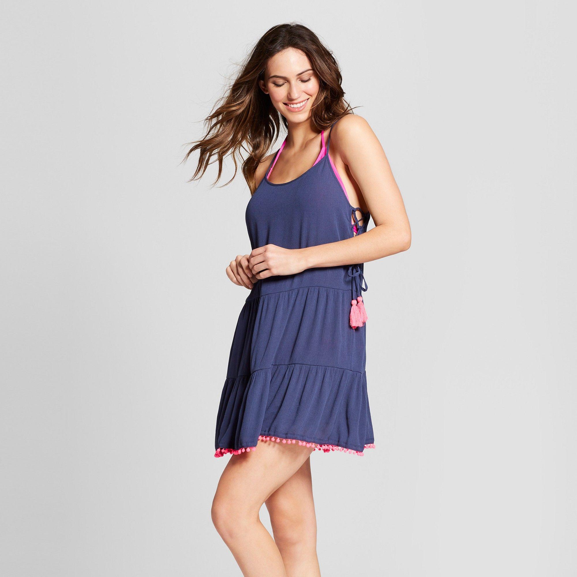 efda39b4a8592 Women s Lace Up Cover Up Dress - Xhilaration Blue M
