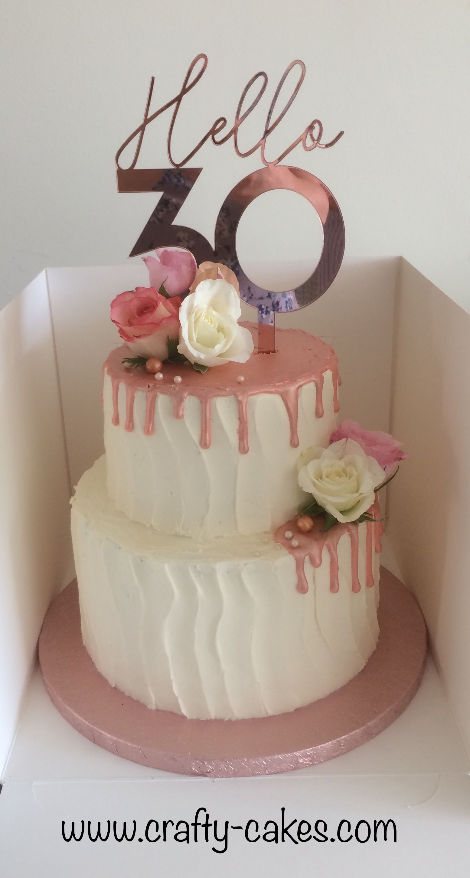 Rose Gold Drip 30th Cake Buttercream 2tier With Fresh Flowers