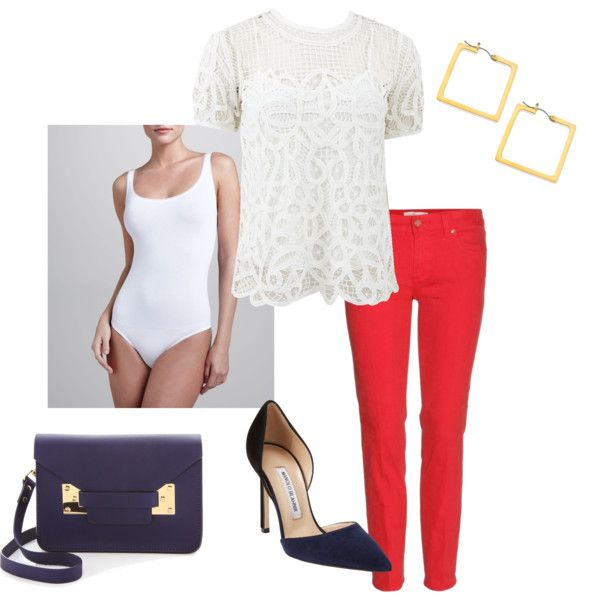 Wear the Wolford Jamaika Body underneath a lace top and colored skinny jeans.