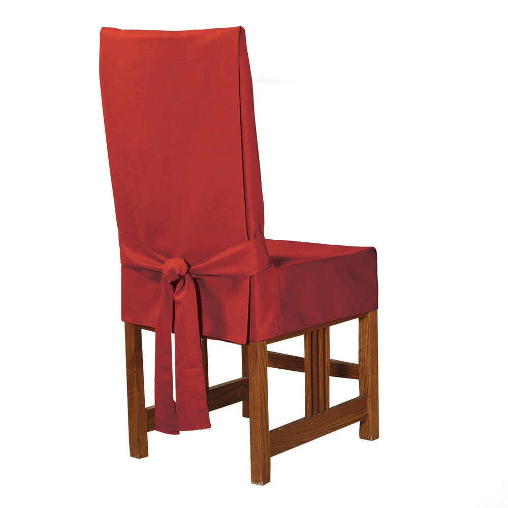 Cotton Duck Short Dining Room Chair Slipcover Claret