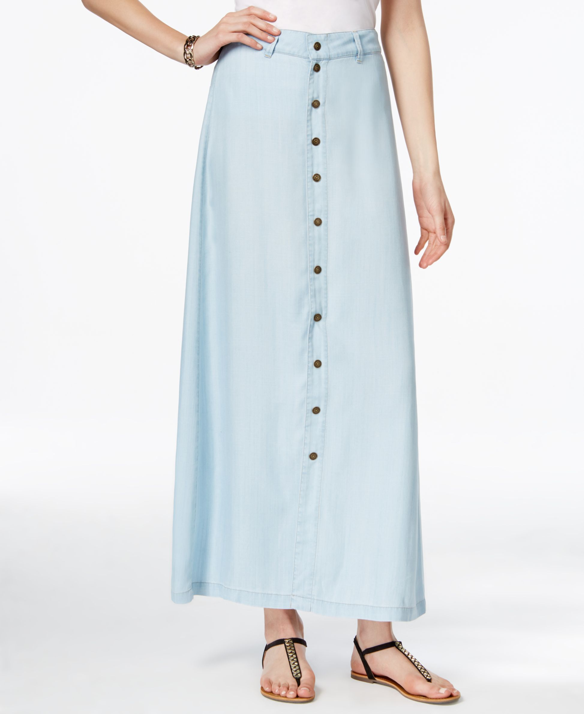 Guess Mila Button-Front Maxi Skirt