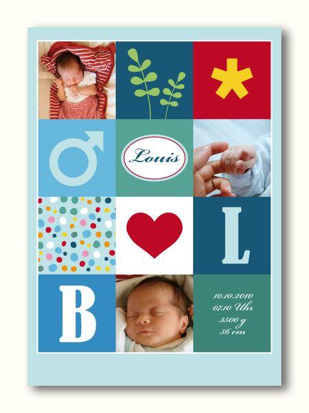 Baby- & Geburtskarten - Karte zur Geburt oder Taufe 07 Junge - ein Designerstück von Liebesdienst bei DaWanda