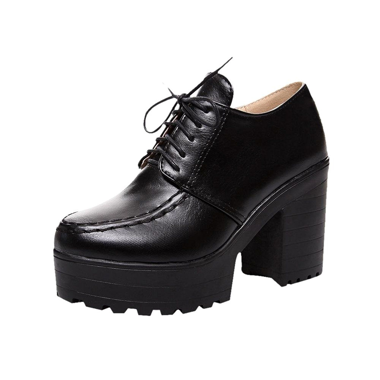 women's lace up retro fashion pu platform chunky high heel oxfords shoes ankle boots