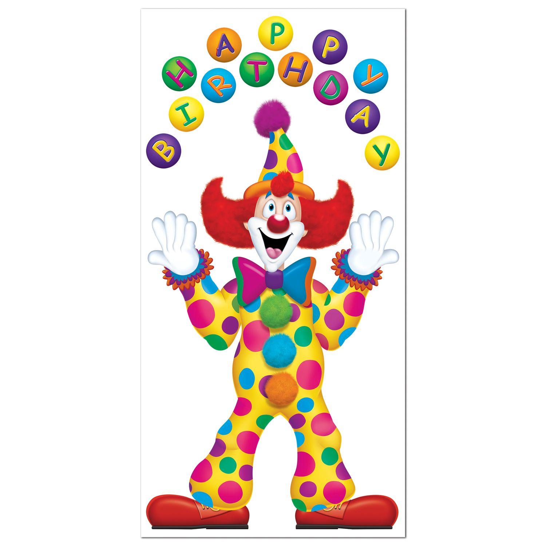 Clown circus party supplies happy birthday door banner for Clown dekoration