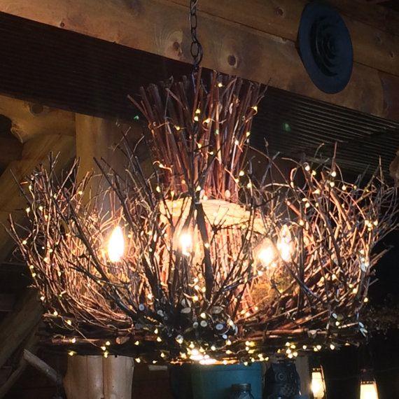Rustic Handmade Light Fixture Twig Chandelier Branch: Cheyenne -Rustic Twig Chandelier- 5 +1 Candle Chandelier