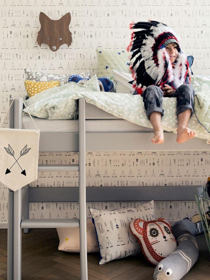 kinderzimmer skandinavisch einrichten hochbett kindertapette, Hause deko