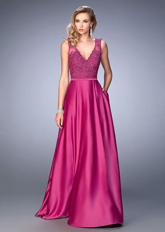 Long Embroidered V-Neck Dark Magenta Side Pockets Prom Dress | Prom ...