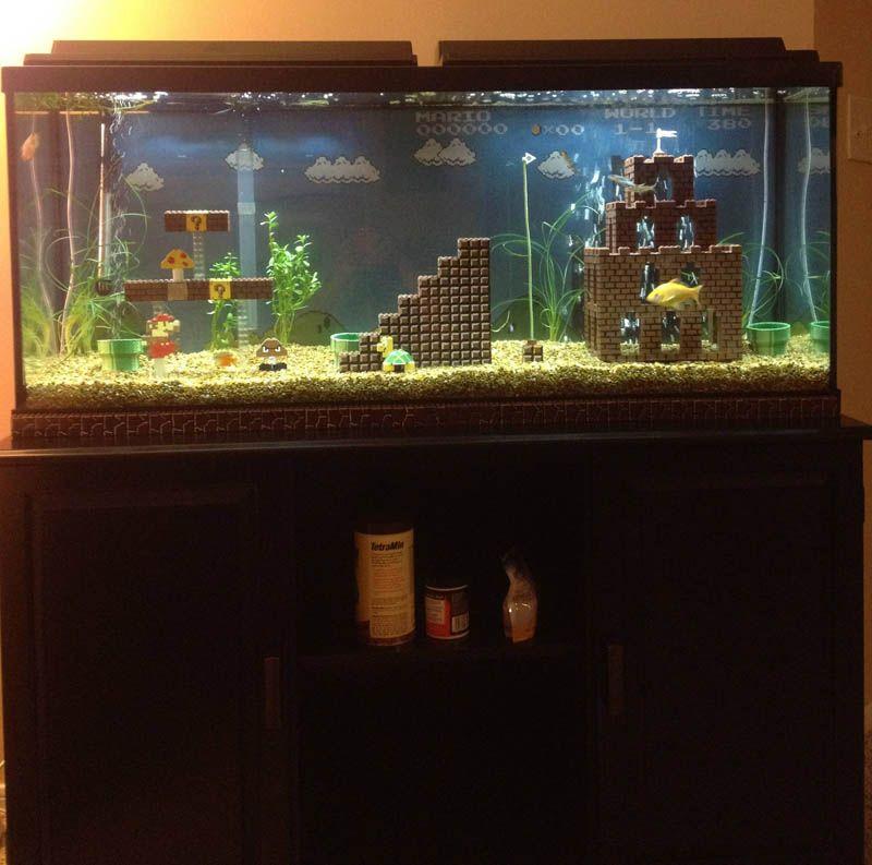 This Super Mario Fish Tank Is Awesome Aquarium Decorations Lego Super Mario Aquarium