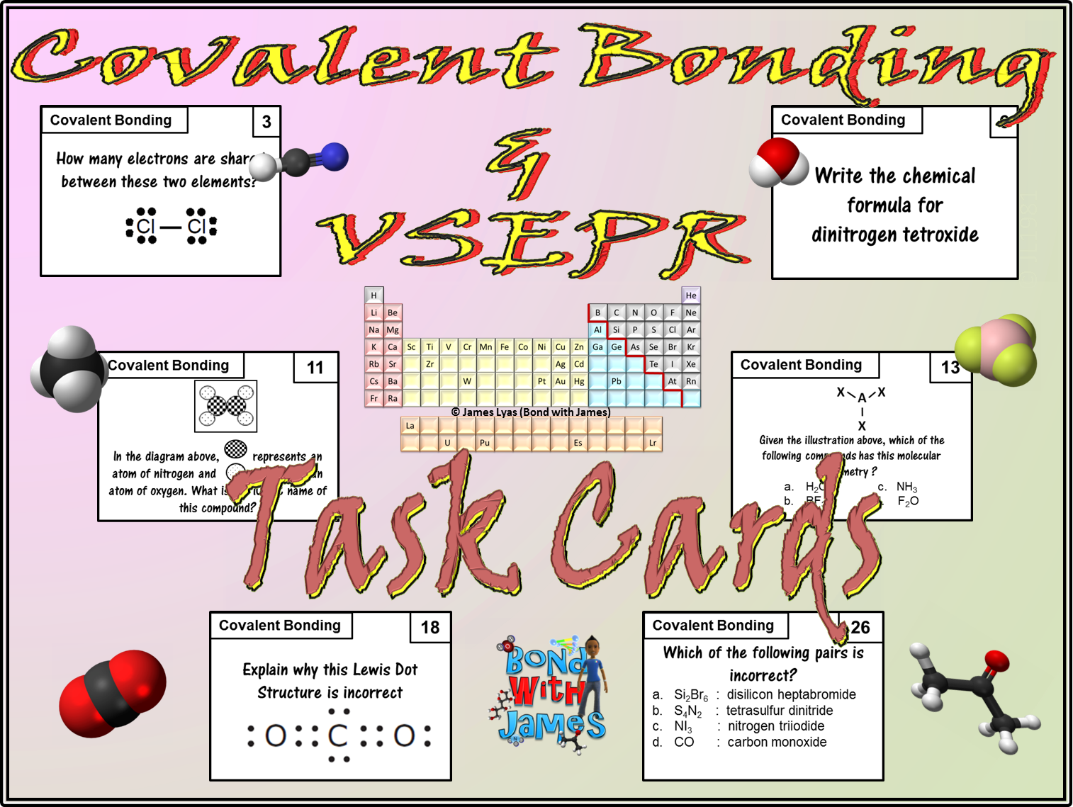 Covalent Compounds Covalent Bonding Amp Vsepr Molecular Geometry Task Cards