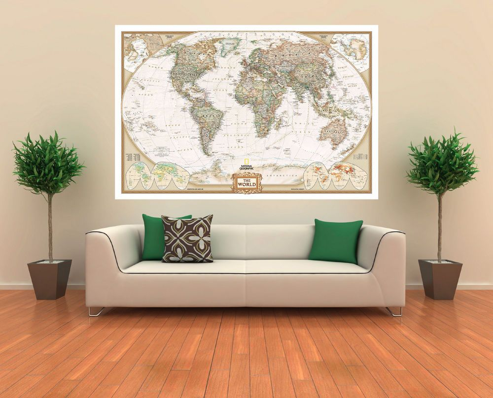 Wall Art Canvas Picture Print - Executive World Map 3.2 #Canvas