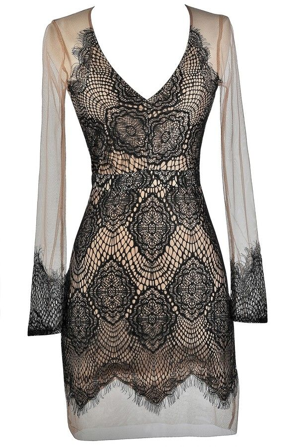This delicate longsleeve mesh dress features lace overlay--this dress is sweet, romantic, and sexy at the same time. The Barely There Lace and Mesh Dress is made of sheer beige mesh. It has a V neckline, long sleeves, and a fitted cut. Contrast lace overlay on top adds a girly touch to this dress. A hidden back zipper completes this look. This dress is lined at the front and bottom back but is semi-sheer at the shoulders, sleeves, and top back. Pair this dress with beige pumps or heels and a…