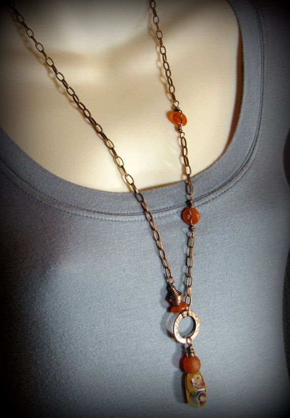 Orange Caramel Brulee Necklace  Agate Nugget by AllowingArtDesigns