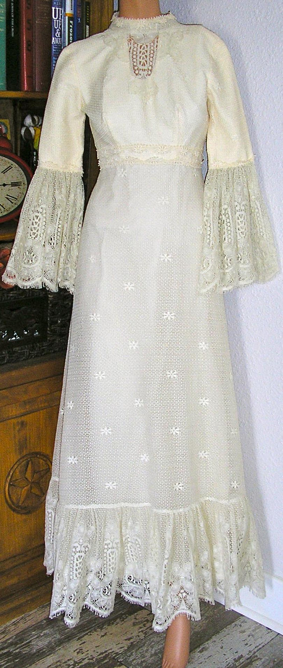 Vintage 60s Lace Crochet Wedding Gown Empire Waist Bell Sleeves