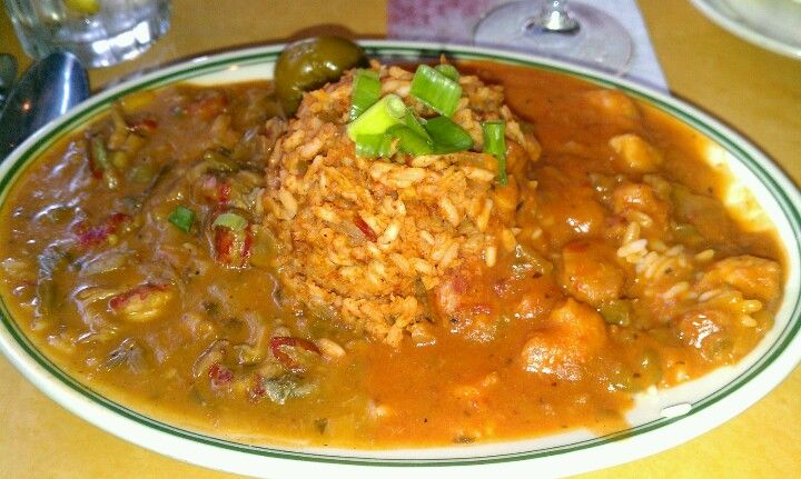 Crawfish Etouffee Shrimp Creole And Gumbo From The Gumbo Shop In New Orleans Seafood Recipes Food Crawfish Etouffee