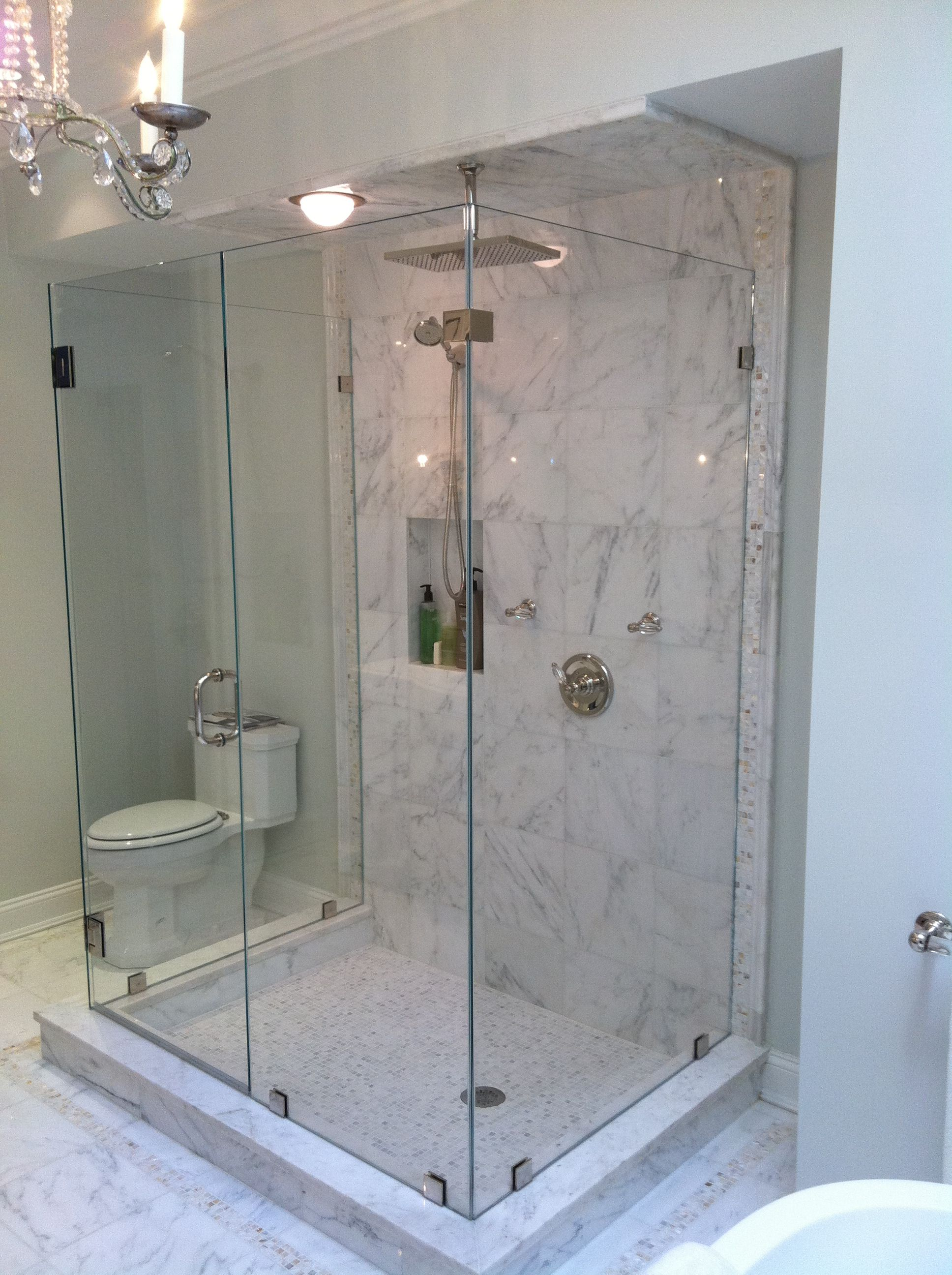 Custom framless three-sided shower Pleasantville, N.Y. Westchester ...