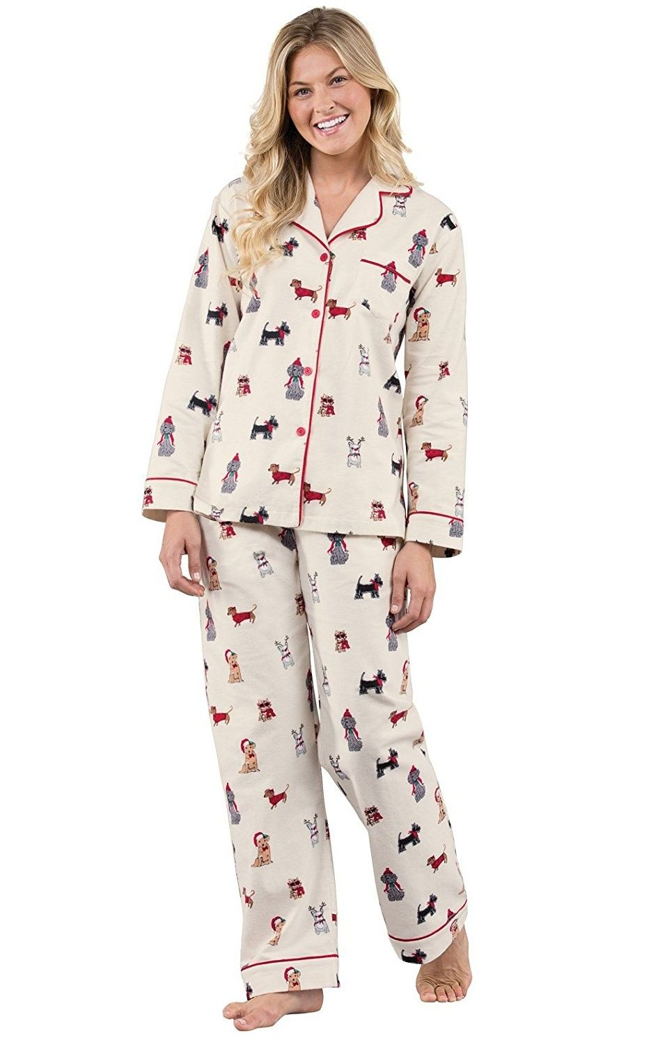 Christmas Dogs Flannel ButtonFront Womens Pajamas