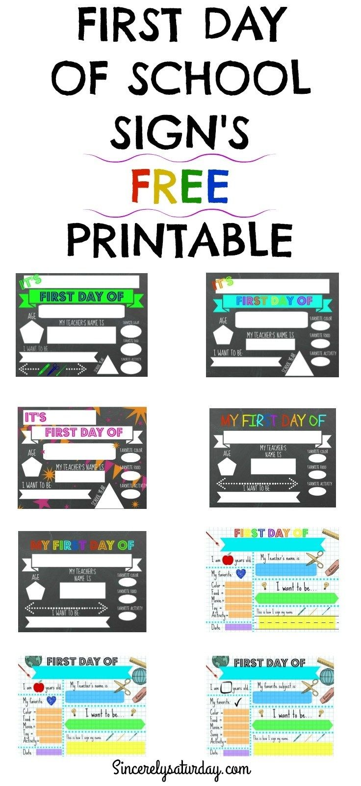 FREE PRINTABLE FIRST DAY OF SCHOOL SIGNS #firstdayofschoolsign