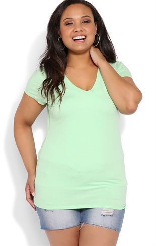 Plus Size Basic V-Neck Tee