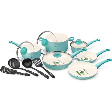 Greenlife Healthy Ceramic Non Stick 14 Piece Soft Grip Cookware