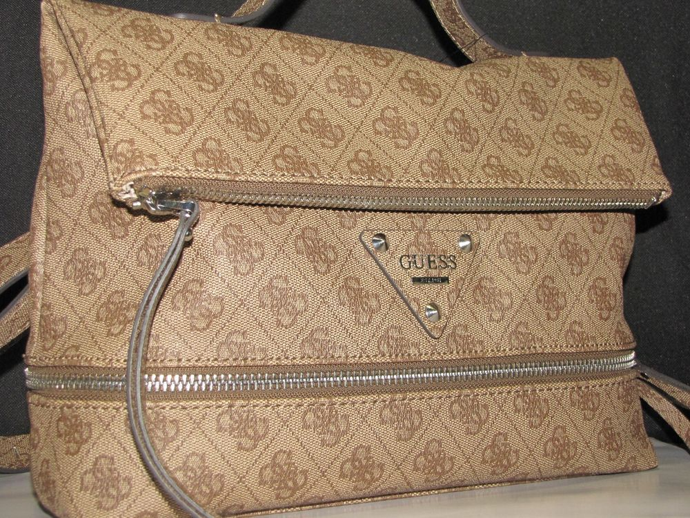 """NWT GUESS """" Dylan """" mocha brown coated canvas convertible backpack satchel bag #Guess #sachel"""