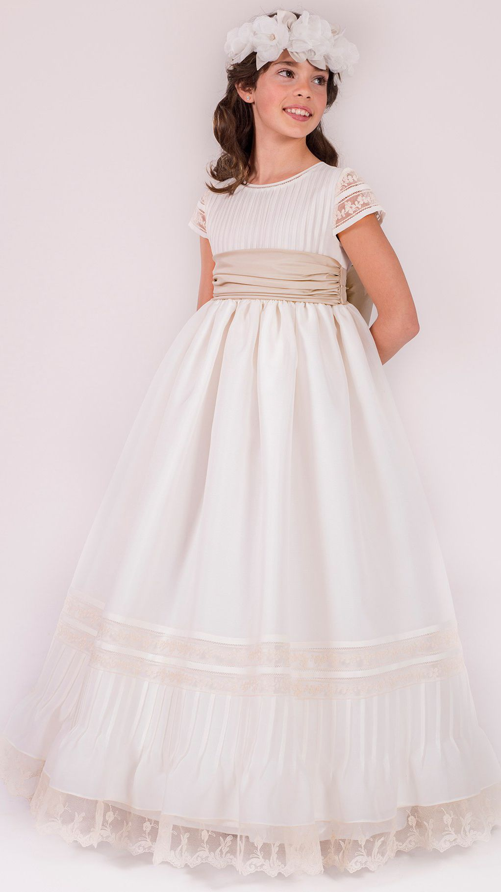d0e5752d9 A-Line Long Sleeveless Scoop-Neck Lace Satin Flower Girl Dress With ...