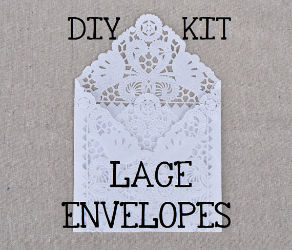 Diy Wedding Invitations Pinterest: DIY KIT For A Set Of 50 Lace Wedding Invitation Envelope