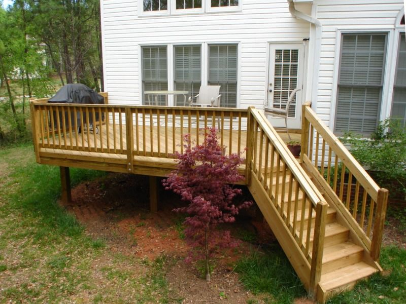 Raised Wood Deck And Railing Decks And Patios Home