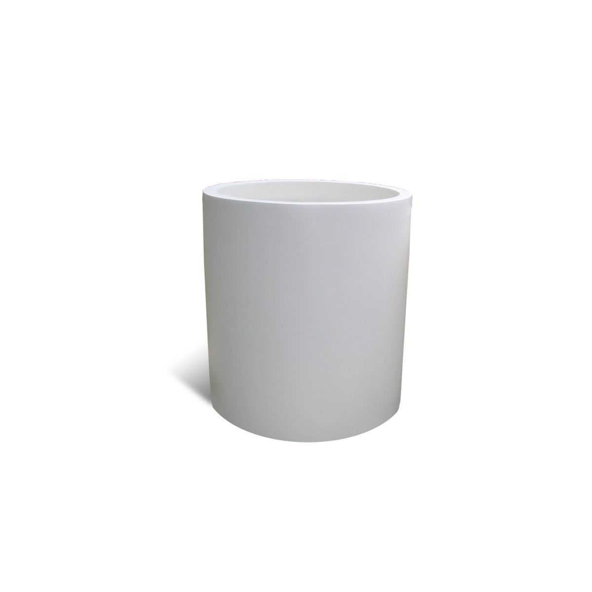 modern white fiberglass round planter 18 pots. Black Bedroom Furniture Sets. Home Design Ideas