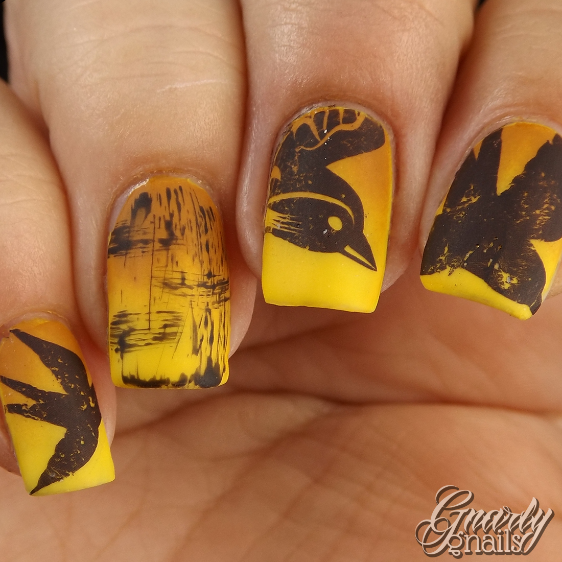 yellow birdy nails