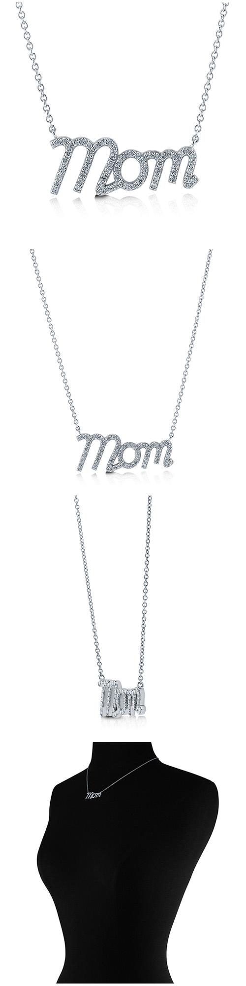 Sterling Silver CZ Mom Fashion Necklace