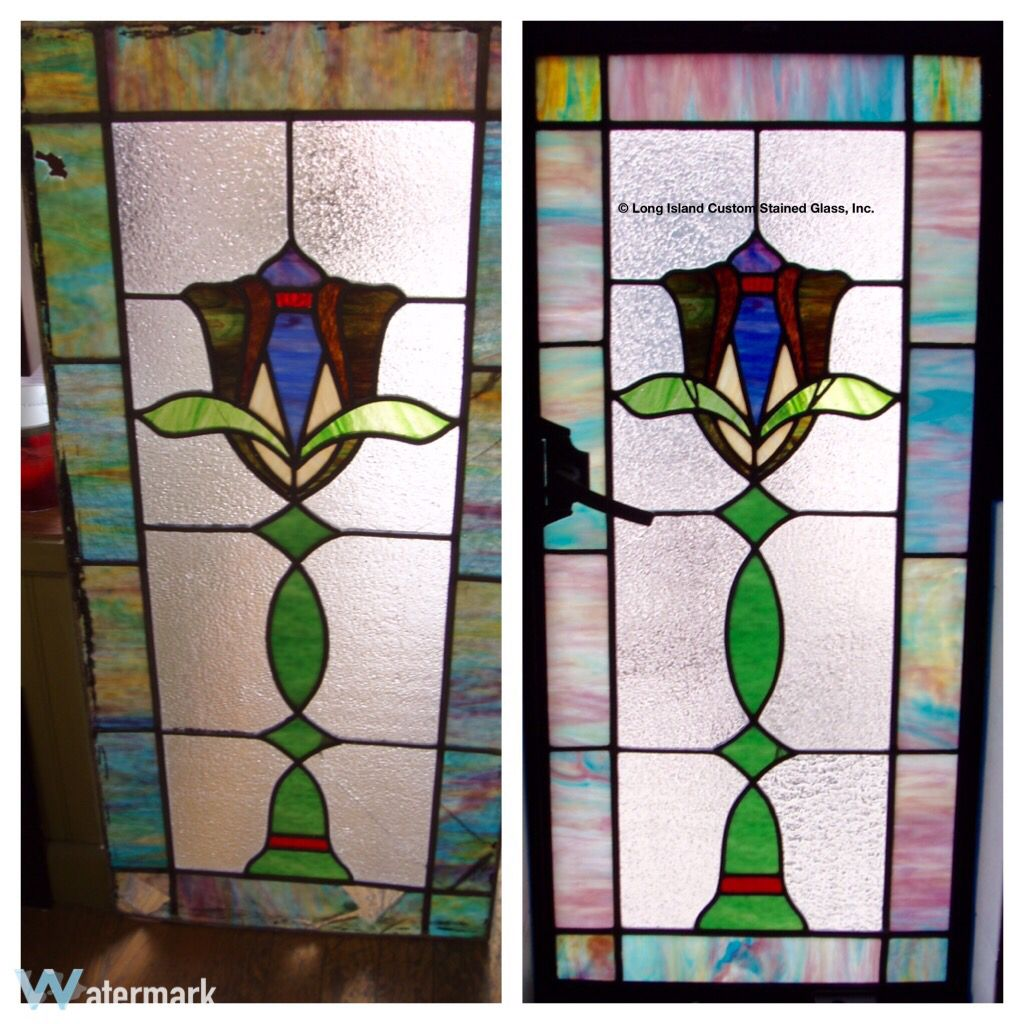 Bathroom Window Repair before and after photo of a stained glass repair for a client's
