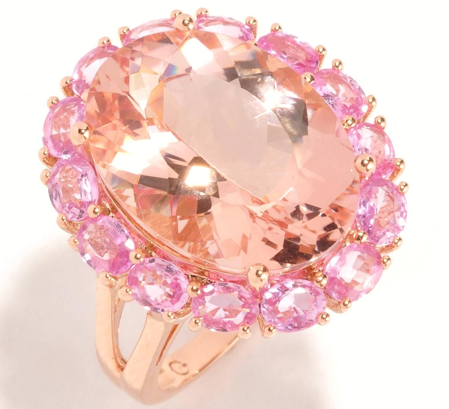 Large Oval Morganite Pink Sapphire Halo Rose Gold Ring | ♥ JEWELS ...